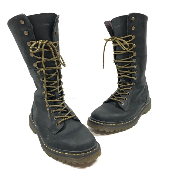 67f368389d6 Dr. Martens Aleina Combat Leather Fold Over Boots